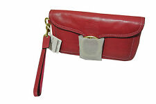 COACH Bleecker 41551 Pink Magenta Leather Wristlet Clutch Buckle Tattersall NWT