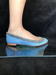 Celini  blue leather low heels casual shoes. Snake skin texture . Size 37.