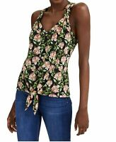 INC Women's Blouse Green Size Medium M Knit Floral Tie Front V-Neck $49 #376