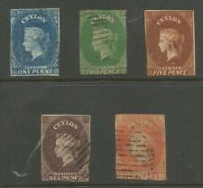 CEYLON 1857-9 SELECTION OF 5 EARLY VICTORIAN USED CAT £725 MINIMUM