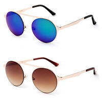 Round Aviator Sunglasses with Flash Lens John Lennon Circle Lens