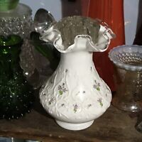 Antique Hand Painted Clear Rim Vase W/ Vintage Glass Flower Frog (Fast Shipping)