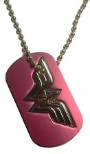 "DC Comics WONDER WOMAN Dog Tag Necklace On 22"" Gold Ball Chain"