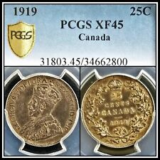 1919 Silver Canada 25 Cents PCGS XF45 Extremely Fine Quarter 25c Classic Coin