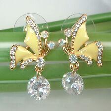 Navachi Butterfly Zircon Yellow Enamel 18K GP Crystal Ear-Nail Earrings BH1254
