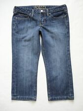 FOSSIL Size 4 Blue Jeans Straight Leg Crop Med/Dark Wash Low Rise Womens Capris