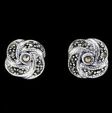 Sterling Silver 925 Marcasite Vintage Style 10mm Knot Stud Earrings RRP $75