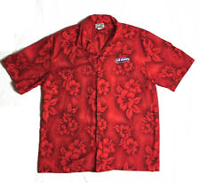 CT Fashions Hawaiian Shirt Leis Floral Red Embroidered US Games logo 2 XL Men's
