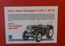 Original alter HELA LANZ ALLRAD D 340 A 40 PS Traktor Schlepper Prospekt