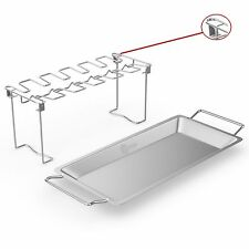 Chicken Wing & Leg Rack For Grill Smoker or Oven - Stainless Steel Vertical R...