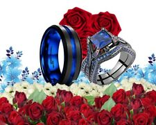 His Tungsten And Her Sterling Silver Black Blue Band Engagement Wedding Ring Set