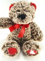 "Valentine Brown Soft Teddy Bear Red Ears Paws Plush Stuffed Animal 9"" Heart"