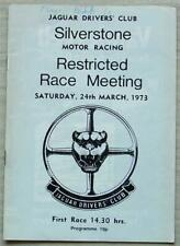 SILVERSTONE 24 Mar 1973 JAGUAR DRIVERS CLUB RESTRICTED RACE MEETING Programme