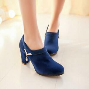 Womens Ladies Block High Heels Court Shoes Round Toe Pumps Ankle Boots Big Shoes