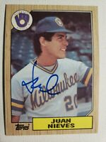 1987 Topps Juan Nieves Autograph Card Red Sox Brewers Auto, Signed #79