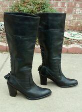 """NINE WEST Black Leather """"Reverb"""" Boots knee high heel back TASSLE  Size 6.5M"""