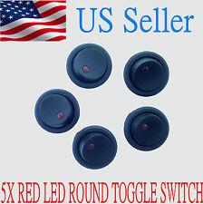 5PCS Car 12V Round Rocker Dot Boat Red LED Light Toggle Switch SPST ON / OFF US