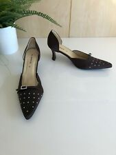 Clarice Size 8.5 Brown Satin look Diamantè Buckle Sparkly Formal Kitten Heel