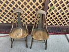 2 American Antique Primitive Windsor Bow Bent Wood Style Black Side Chairs