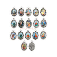 50Pcs Catholic Religious Enamel Medals Charms  Pendants Holy Collection 19mm