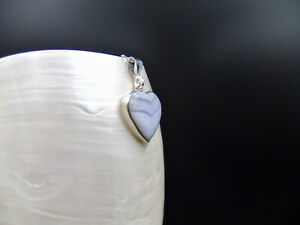 Blue Lace Agate, Heart Shaped, Sterling Silver, Necklace
