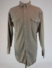 Key Mens Shirt Pearl Snap Western Shirt 2XL Tan Thick Cotton Shirt / Jacket