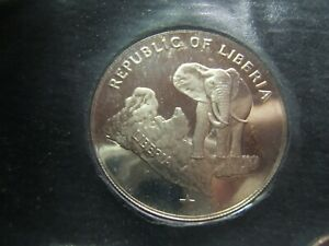 1973 Liberia 7 Coin Proof set with great Elephant Silver Coin .9867 ASW