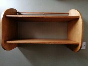 Vintage light oak country kitchen wall shelves shelf plate rack display