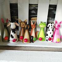 Metall Haken Bauernhof Vintage Tiere Wandhaken Garderobe Kinder Bunt pink