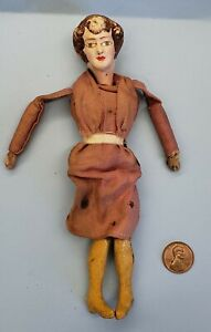 Antique 1940s Dollhouse Lady Doll Handcrafted or  Small Marionette