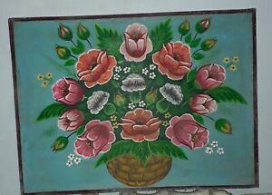 Beautiful Ukrainian antique, 1950s, painting flowers. Folk art.
