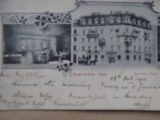 Vintage Old Posted Postcard 1904 Hotel Victoria Basel Switzerland 'creased' a
