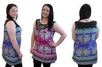 Ladies Womens New Plus Size Paisley Print Embellished Neckline Tunic Top 14-28