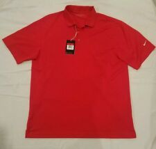 Mens NIKE GOLF Red Solid Polo Shirt Size Large Dri-Fit