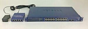 Netgear GS724T V2 ProSafe 24 Port 1Gbps Switch with NETGEAR GS105 5 PORT SWITCH