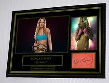 """Ronda Rousey A3 Black Framed Canvas Signed Print    """"Great Gift"""" Limited Edition"""