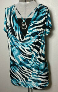 Womans Black Turquiose Striped Top Made with Love n Brooklyn by Discreet Size 1X