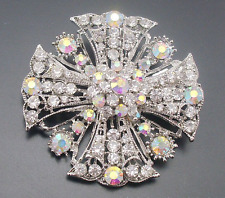Silver Full Colorful Rhinestone Flower Big Cross Brooch Pin Shawl Scarf Pin