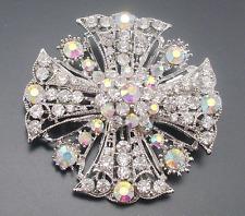 Silver Full Colorful Rhinestone Flower Big Cross Brooch Pin Shawl Scarf Pin
