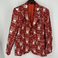 Suitmeister Men's Ugly Christmas Jacket Fa la Llama Red Suit Party Size M New