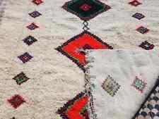 "White Vintage Morocco Berber Rug 110""  x 82"" BENI OURAIN  Wool Carpet Hand woven"
