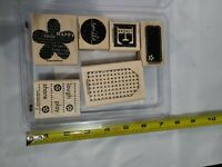 STAMPIN UP BE HAPPY SET OF 6 WOOD RUBBER STAMPS RETIRED 2006