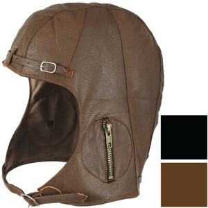 WWII Pilots Military Vintage Style Leather Tactical Goatskin Helmet Head Cover