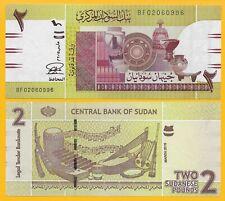 Sudan 2 Pounds p-71b 2015 UNC Banknote
