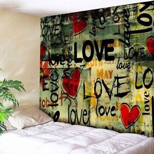 Art Tapestry Wall Hanging Throw Love Heart Graffiti Print Tapestry Home Decor