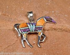 Multi color Stones & Fire Opal  Inlay 925 Sterling Silver Horse Pendant Necklace
