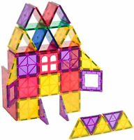 Playmags Clear Colors Magnetic Tiles Building Set 60 Piece Set with Cars