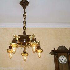840 Antique 1910's Ceiling Light lamp fixture chandelier 5 Lights
