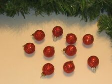 Miniature Small Balls Ornaments Red Christmas Glass Glitter, Feather Wire Tree