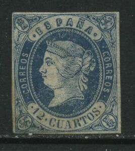 Spain 1862 12 cuartos blue green mint o.g. hinged paper adhering on back